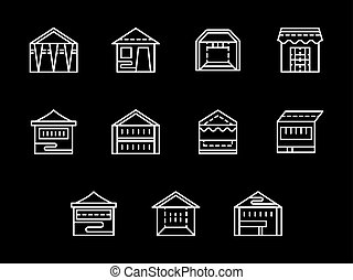 Street trade tents white line vector icons set - Set of...