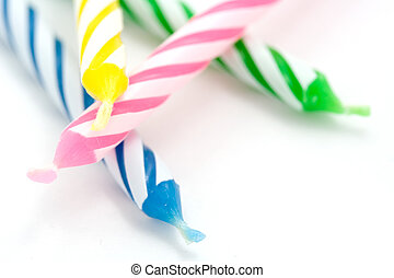 Birthday Candles - A photo of some striped birthday candles...