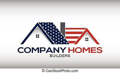 American Houses Logo Business Card - American House with...