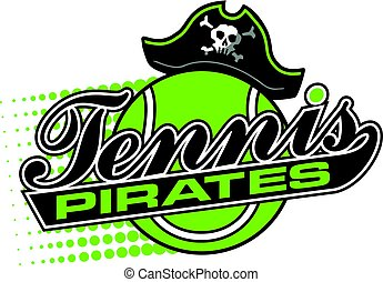 pirates tennis team design in script with tail and large...