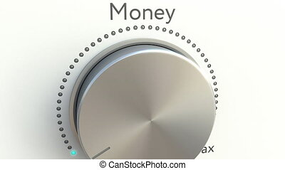 Rotating knob with money inscription. Conceptual 4K clip...