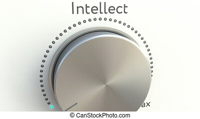 Rotating knob with intellect inscription. Conceptual 4K clip...
