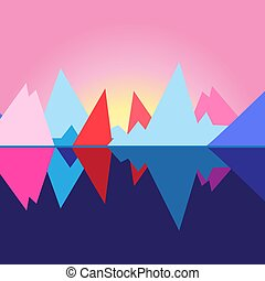 Bright vector landscape with mountains