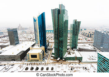 Top view of the office block in the center of Astana,...