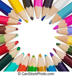 Set of colored pencils arranged in circle - Set of colored...