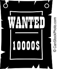 Vintage wanted poster icon, simple style - Vintage wanted...