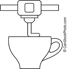 3D printer printing cup icon, outline style - 3D printer...