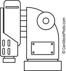 Pneumatic hammer machine icon, outline style - Pneumatic...