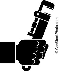 Hacksaw in man hand icon, simple style - Hacksaw in man hand...