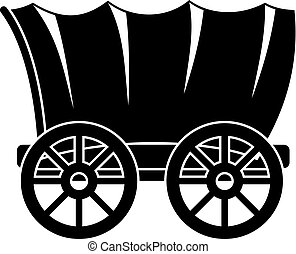 Ancient western covered wagon icon, simple style
