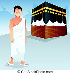 Muslim Man in Front of Kaaba - A vector illustration of...