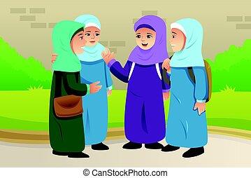 Muslim Children Talking Together - A vector illustration of...