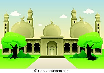 Islamic Mosque During Daytime - A vector illustration of...