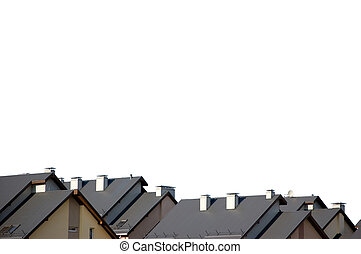 Rowhouse Roofs Isolated - Rowhouse roofs, isolated on white