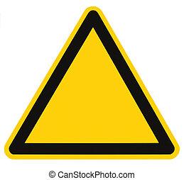 em branco, perigo, e, perigo, triangulo, sinal, isolado,...