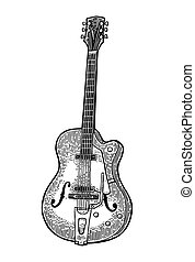 Semi acoustic guitar. Vintage vector black engraving...