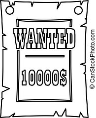Vintage wanted poster icon, outline style - Vintage wanted...