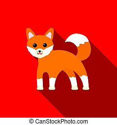 Fox icon flat. Singe animal icon from the big animals flat.