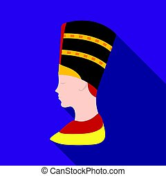Bust of Nefertiti icon in flat style isolated on white background. Ancient Egypt symbol stock vector illustration.
