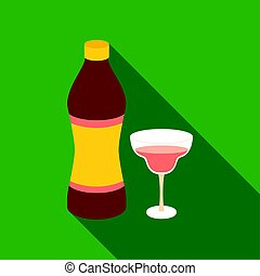 Vermouth icon in flat style isolated on white background....