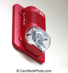 Fire Alarm on Wall - A fire alarm with built in strobe light...