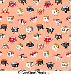Sushi character vector food seamless pattern - Fun sushi...