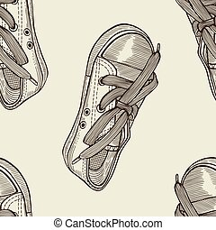 seamless pattern of shoes - Hand drawn sketch seamless...