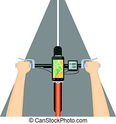 mobile navigation in the mobile phone on the handlebar -...