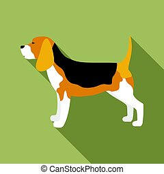 Beagle vector icon in flat style for web - Beagle vector...
