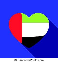 United Arab Emirates heart icon in flat style isolated on white background. Arab Emirates symbol stock vector illustration.