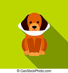 Sick dog vector icon in flat style for web