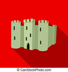 English castle icon in flat style isolated on white...