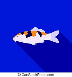 Carp-koi fish icon flat. Singe aquarium fish icon from the...