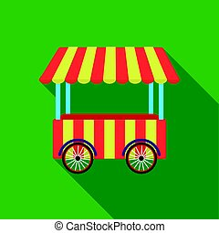 Snack cart icon in flat style isolated on white background....