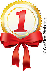 Gold award with bow