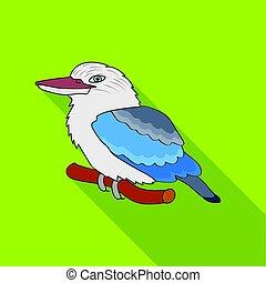 Kookaburra sitting on branch icon in flat style isolated on...