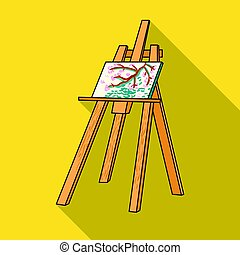 Easel with masterpiece icon in flat style isolated on white...