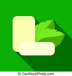 Mint chewing gum icon in flat style isolated on white background. Dental care symbol stock vector illustration.