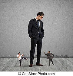 Employees who want to rebel at their boss - Big businessman...