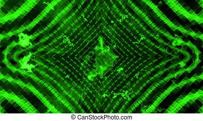 Green wire frame VJ looping bright abstract on black -...