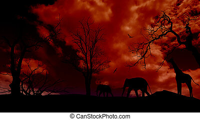 Safari background with elephant and giraffe silhouette