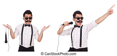 The funny man with mic isolated on white - Funny man with...