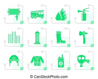 Stylized fire-brigade and fireman equipment icon - vector...