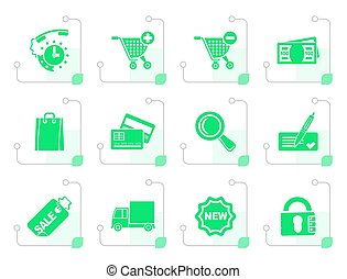 Stylized Internet icons for online shop