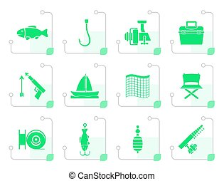 Stylized Fishing and holiday icons - vector icon set