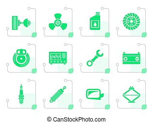 Stylized Car Parts and Services icons - Vector Icon Set
