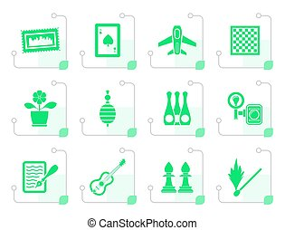Stylized Hobby, Leisure and Holiday objects - Vector...