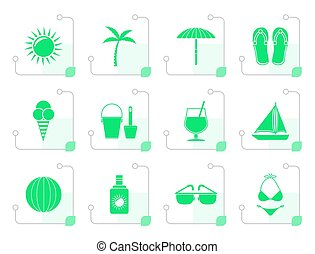 Stylized Summer, Holiday and beach objects - Vector...