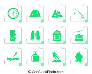 Stylized travel, Tourism, vacation and mountain objects -...