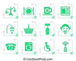 Stylized Roadside, hotel and motel services icons